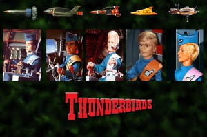 The Tracy family and each of their Thunderbirds